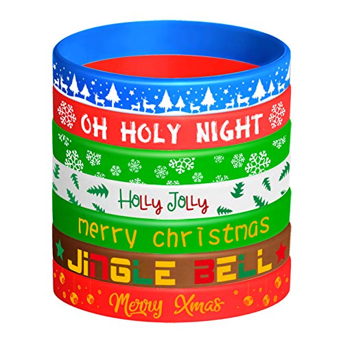 FEPITO 42 Pieces Christmas Silicone Wristbands Rubber Band Bracelets for Christmas Party Decoration Supplies 7 Merry Xmas Style