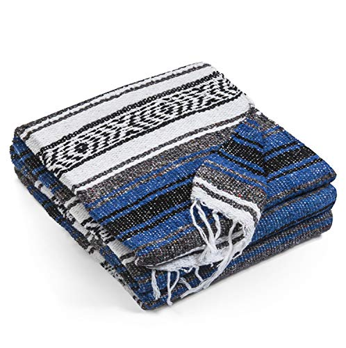 Authentic Mexican Blanket - Premium Yoga Blanket Beach Blanket - Perfect Picnic Blanket, Travel Blanket, Outdoor Blanket - Well Made Yoga Bolster