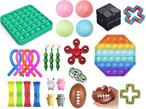 Mubineo Fidget Spielzeug-Set, Sinnes Spielzeug-Pack für Stress Relief ADHS Angst Autismus für Kinder und Erwachsene, Sinnes Fidget und Squeeze Widget Fun Toys für Therapie Relaxing (28Pc Toy57M)
