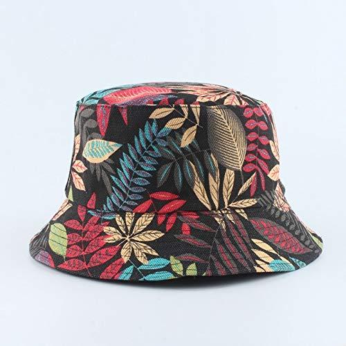 Sombrero de Cubo para Hombres y Mujeres, Gorra de Verano con Estampado de plátano, Sombrero Amarillo, Sombrero de Hip Hop, Gorros, Sombrero de Pescador de Pesca-Colorful Leaf