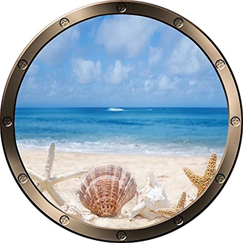 12 Porthole Ship Window Ocean Sea View Shells Beach 2 Pewter Round Wall Decal Kids Sticker Baby Room Home Art D Cor Graphic Small