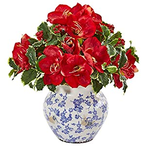 Nearly Natural Amaryllis and Variegated Holly Leaf Artificial Silk Arrangements Red