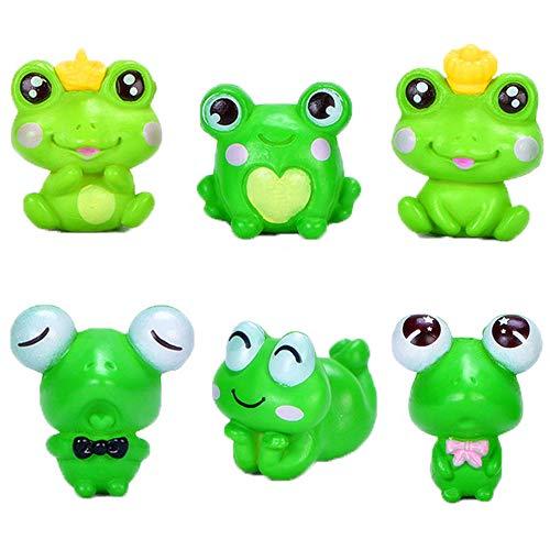 Frosch-Miniatur-Figuren – Feengarten, Mini-Froschtiere, Modell, Feengarten, Miniatur-Moos-Landschaft, DIY-Terrarium, Kunsthandwerk für Kuchendekoration, Heim-Party-Dekoration (6 Frosch)