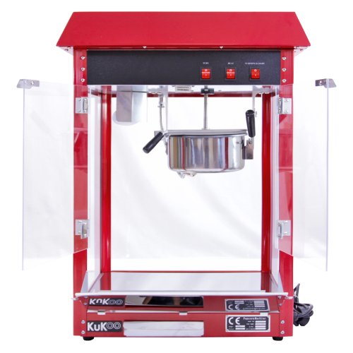 KuKoo Retro Popcorn Machine - Popcornmaker - Retro Look - Rood - Hittelamp - 235ml grote pan - 1.37kW - bioscoop - evenement