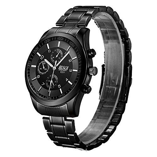 『ZDTech 腕時計 クロノグラフ デイト クォーツムーブメント 海外モデル メンズ ウォッチ (ブラック)』のトップ画像