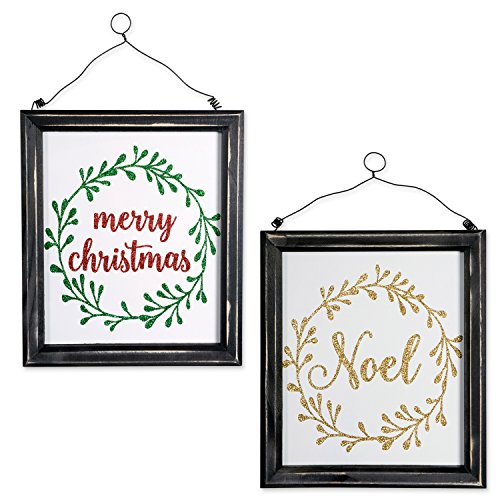 DII Indoor/Outdoor Hanging Noel & Merry Christmas Wooden Sign to Celebrate the Holidays, Wooden Wall & Door Decoration - Noel & Merry Christmas, Set of 2