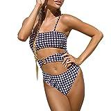 Conjunto de Bikini Traje de baño a Cuadros para Mujer una Pieza Cuello Cuadrado Sexy Push up sin Espalda Estampado a Cuadros Tanga Sexy Vestidos de Playa (Tartán, M)