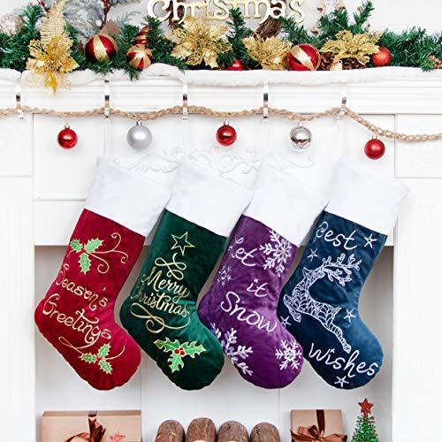 Weihnachtsstrumpf 4er Nikolausstrumpf Deko Kamin 4 Set Nikolausstiefel zum befüllen und aufhängen groß Ideale Weihnachtsdekoration Christmas Stockings Xmas Weihnachtsmann Rot Grün Lila Blau