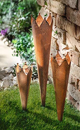 Dekoleidenschaft 3 Gartenstecker Krönchen aus Metall in Rost-Optik mit Windlicht-Glas, Gartenfackel, Beetsticker