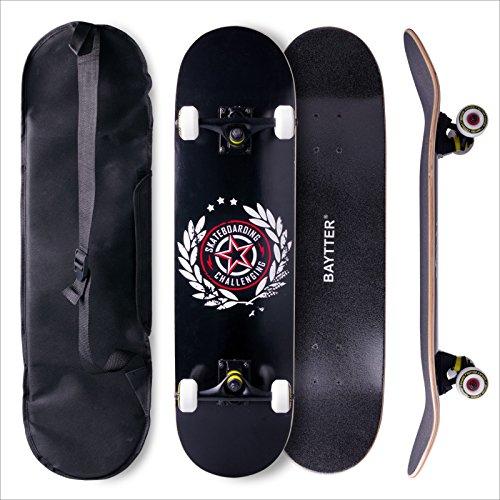 Baytter® Skateboard Komplett Board Funboard 79x20cm mit 7-lagigem Ahornholz und ABEC-11 Kugellager 95A Rollenhärte 31 x 8 Zoll, für Kinder, Jugendliche und Erwachsene, 3 Farben wählbar (schwarz)