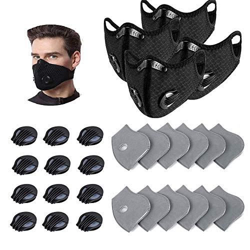 4PCS Unisex Protect Mouth Cover Reusable with 12 Activated Carbon Filters and 12 valves for Sports Outdoor Activities, Cycling, Motorcycle, Running
