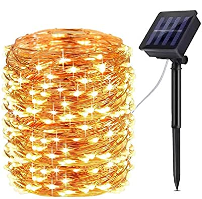 ALOVECO Solar String Lights Outdoor, 72ft 200 LED Solar Lights Outdoor, IP67 Waterproof Copper Wire 8 Modes Fairy Twinkle String Lights for Party Decorations Wedding Garden Patio Home Decor