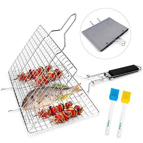 E-More BBQ Grillkorb Fisch-Grillkorb, zusammenklappbar, tragbar, Edelstahl, für Fisch, Gemüse, Garnelen mit abnehmbarem Griff, mit Backbürste und Aufbewahrungstasche