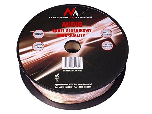 Maclean luidsprekerkabel zuurstofvrij koperen audio kabel luidspreker transparant volledig koper 100m - 2x3mm 16AWG