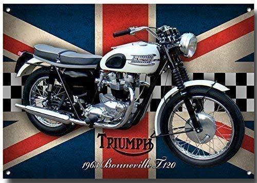 VINTAGE SIGN DESIGNS Triumph Bonneville T120 Motorrad Metall Schild mit Enamelled Finish - 285MM x 410MM x 1MM