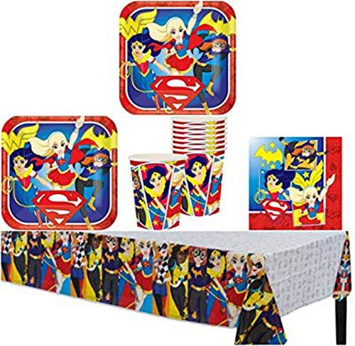 Lote de Cubiertos Infantiles Desechables'Super Hero Girls' (16 Vasos, 16 Platos, 16 Servilletas y 1 Mantel) .Vajillas. Juguetes para Fiestas de Cumpleaños, Bodas, Bautizos y Comuniones.