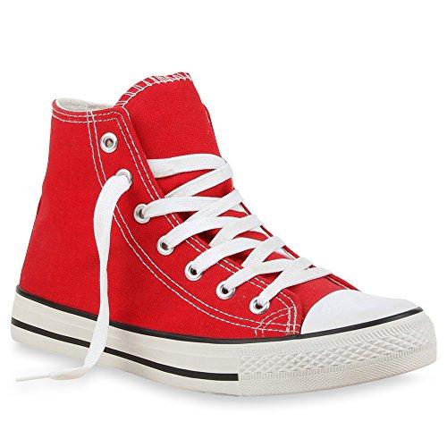 stiefelparadies Damen Sneakers Denim Stoff Spitze Sneaker Low Nieten Glitzer Freizeit Damen Turn Schuhe 35333 Rot Rot 38 Flandell