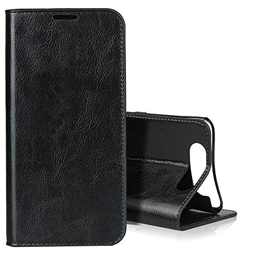 EATCYE für Samsung Galaxy A80 Hülle, [Echtleder] Handyhülle [Extra Dünn] Brieftasche flip Lederhülle Schutzhülle [Versteckt Magnet] Premium Design Echt Leder Brieftasche (Schwarz)