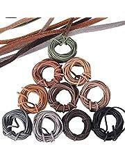 3mm x 5m Cuerda de Cuero Gamuza Cordón de Ante para Pulsera Collar Lllavero Fabricación de Bisutería y Abalorios Manualidades Artesanía, 10 Piezas, 10 Colores