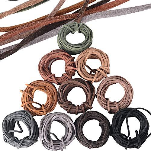 JNCH 3mm*5m*10 Corda in Pelle per Collana Braccialetti Cordino in Pelle Cuoio Per Collane Braccialetti Artigianato Fai da Te (10 Colori)