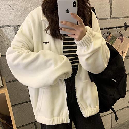 Sweatshirt Hoodies Damen Zip-Up Turn-Down-Kragen Bedruckte Tasche Langarm Style Casual Womens Daily XL Beige