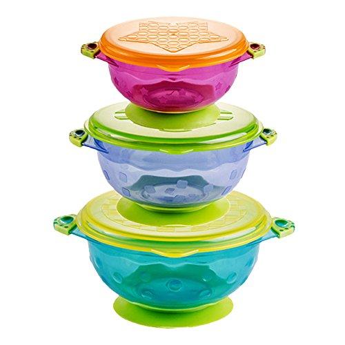 Binnan Set di 3 Ciotola con Coperchio e Ventosa, BPA-Free, Ciotola per i bambini