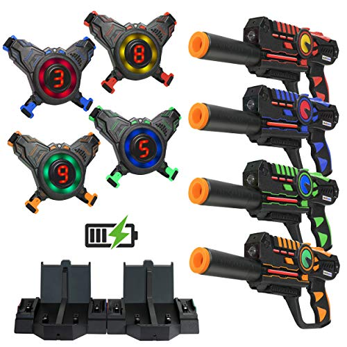 ArmoGear Rechargeable Laser Tag - Laser Tag Guns and Vests Set of 4 with Removable Silencers – Indoor & Outdoor Lazer Tag Set for Kids, Teen Boys & Girls - Age 8+