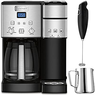 Cuisinart 12-Cup Coffee Maker and Single-Serve Brewer Stainless Steel (SS-15) with Milk Frother - Handheld Electric Foam Maker for Coffee, Latte, Cappuccino & Stainless Steel Milk Frothing Pitcher