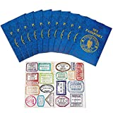 Kicko Passport Sticker Book for Boys and Girls - 12 Pack Pad of Famous Places Motivational Treats, Party Favors, Game Prizes, Wall Decals, Scrapbooks, Collections, School Supplies, Arts and Crafts