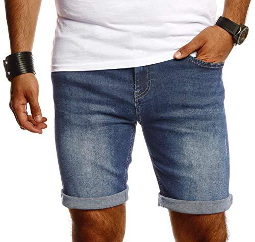 Björn Swensen Herren Shorts Jeans Stretch Kurze Hose für Sommer Slim Fit Basic Kurze Jeanshose für Männer Denim Jungen weiße Freizeithose Cargo Chino Bermuda AMZ9014 Grau W36