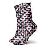 Chaussettes courtes douces mi-mollet - Marguerite et fleurs de tulipes stylisées avec tiges vertes et feuilles sur fond noir - Chaussettes pour homme et femme - Idéales pour la course à pied