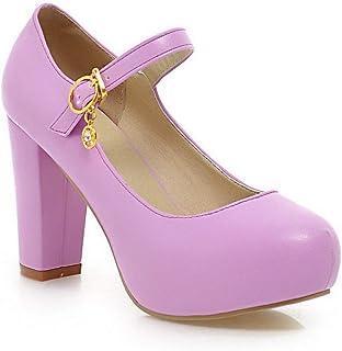 BalaMasa Womens APL11623 Pu Block Heels