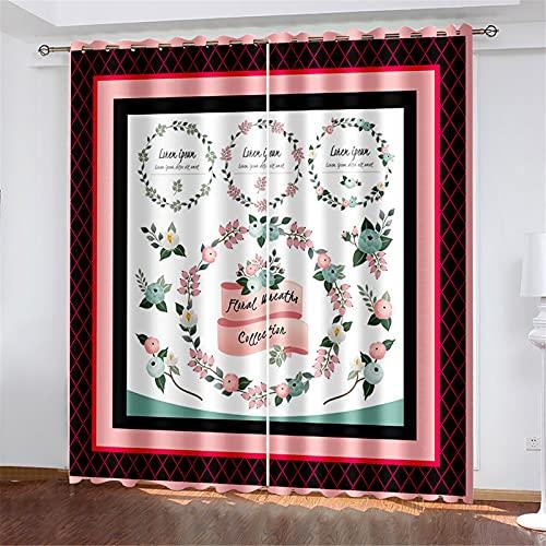 FACWAWF Cortinas De Estampado Floral 3D para Cocina, Dormitorio, Hotel, Decoración De Apartamentos, Cortinas Opacas W150xH166cm(2pcs)