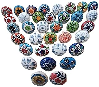 20 Pieces Mix Color Multi Designed Ceramic Cupboard Cabinet Door Knobs Drawer Pulls & Chrome Hardware - Hand Painted Pulls