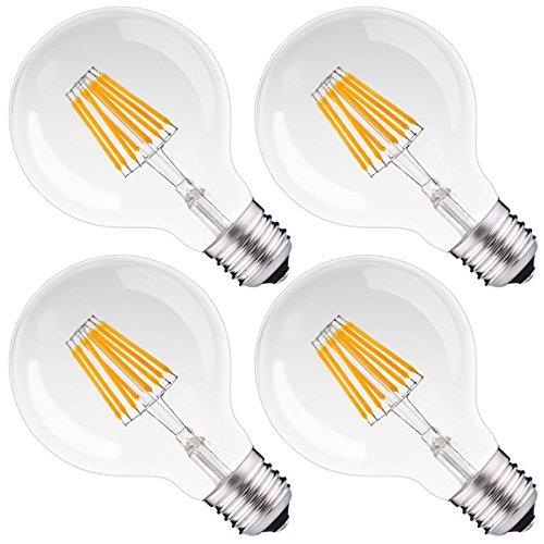 Dimmable Filament LED G25 Globe Light 75Watt Replacement, DORESshop 8W G80 Globe Vintage Edison Light Bulb, Medium Base(E26), Warm White 2700K, Clear Glass, Bathroom Vanity Mirror Light Bulb, 4Pack