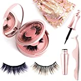 miaowang 3D Color Magnetic Eyelashes Set Brown and Dark Purple and Magnetic Eyeliner
