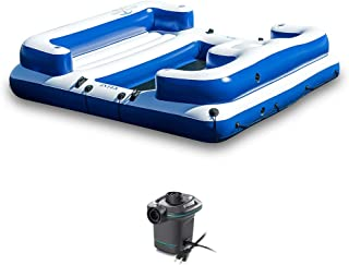 Intex Oasis Island Inflatable Giant 5 Person Lake Lounge w/ AC Electric Air Pump
