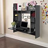 【Fast Delivery】 Wall Mounted Computer Desk, Storage Tray Floating Desk, Wood Compact Home Office Desk, Laptop PC Table Writing Study Table, Workstation with Storage Drawer & Shelves (Black)