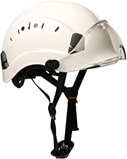 SMASYS Safety Hard Hat ABS Helmet Adjustable with Visor 6-Point Suspension Perfect for Construction and Climbing (White Visor)
