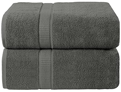 Oakias - Juego de 2 toallas de baño de lujo, color gris, 35 x 70 pulgadas, muy absorbentes y suaves, 600 g/m², extra grandes