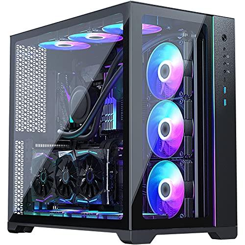 PC-fodral, Svart Och Vitt USB3.1 Panamahärdat Glas ARGB Vattenkyld Datorhölje, Stödjer 360 Graders Vattenkylning På Tre Sidor (Color : Black)