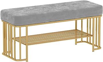 JIANFEI Schoenenrek bank, eenvoud metalen gangbank, holle opbergplank met zachte pad, entree schoen organizer plank voor w...