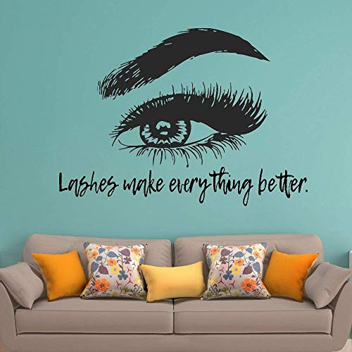 Cils Eye Lashes Extensions Wall Decal Sourcils Sourcils Beauté Salon Citation Make Up Wall Sticker Vinyle Art 59X42Cm