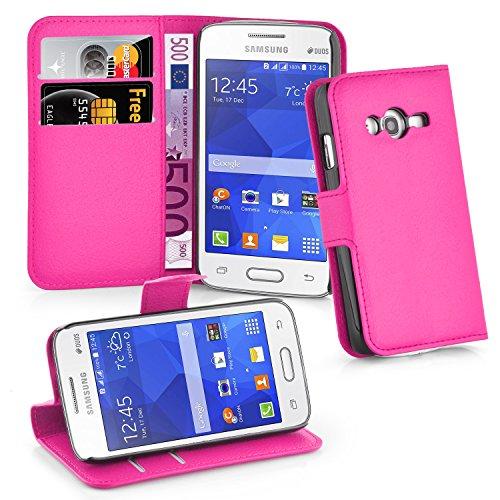 Cadorabo Hülle für Samsung Galaxy ACE 4 LITE in Cherry PINK - Handyhülle mit Magnetverschluss, Standfunktion & Kartenfach - Hülle Cover Schutzhülle Etui Tasche Book Klapp Style