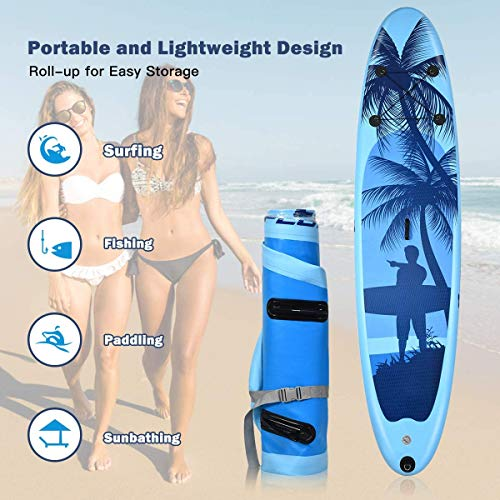 """Product Image 4: Goplus Inflatable Stand Up Paddle Board, 6.5"""" Thick SUP with Premium Accessories and Carry Bag, Wide Stance, Bottom Fin for Paddling, Surf Control, Non-Slip Deck, for Youth and Adult (Blue, 9.8ft)"""