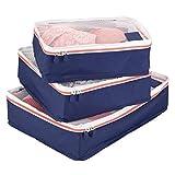 mDesign Juego de 3 cajas de almacenamiento con cremallera – Bolsas de tela o bolsas de viaje para maletas o bolsos – Cestas de poliéster transpirable con malla – azul marino, blanco y naranja