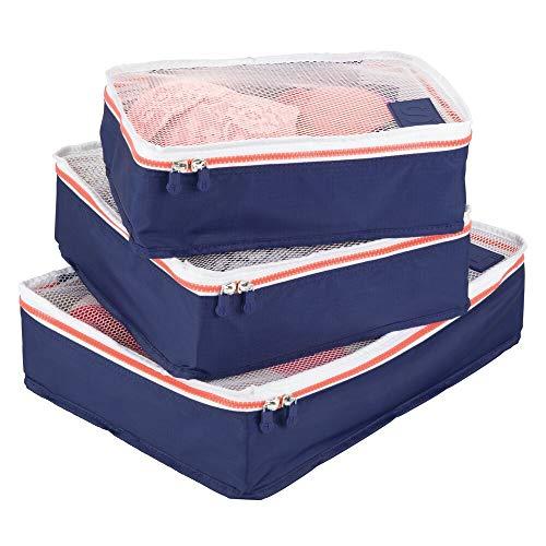 mDesign 3er-Set Aufbewahrungsbox mit Reißverschluss – Packtasche für Handgepäck, Koffer oder Reisetasche – atmungsaktive Wäschebox aus Polyester mit Netzeinsatz – marineblau, weiß und orange