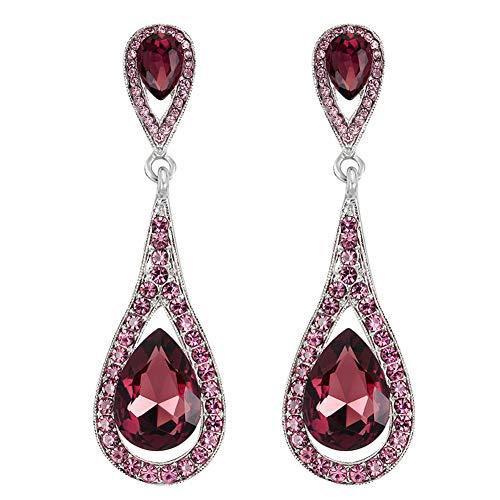 Muzhili3 - Pendientes para mujer, diseño de gota de agua, imitación de piedras preciosas y diamantes de imitación, color champán rojo vino