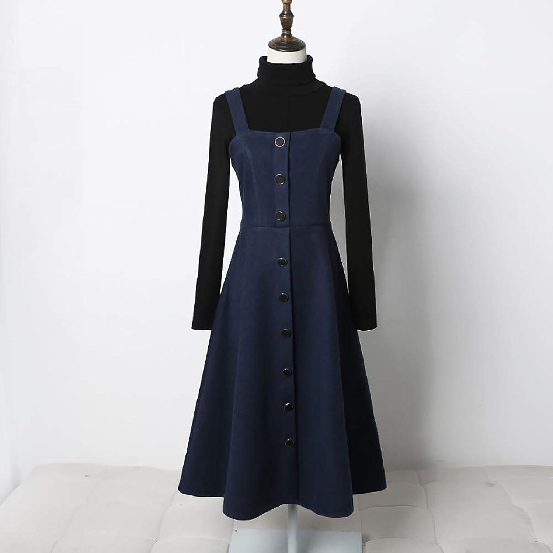 Spring and Autumn Women's Skirt Vintage Woolen Dress Temperament Strap Skirt Two Piece Set Skirt + Sweater
