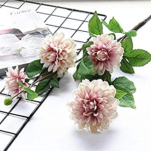 TRRT Fake Plants Dahlia Guanyin Artificial Flowers, Silk DIY Wedding Birthday Party Home Decor Fake Flower